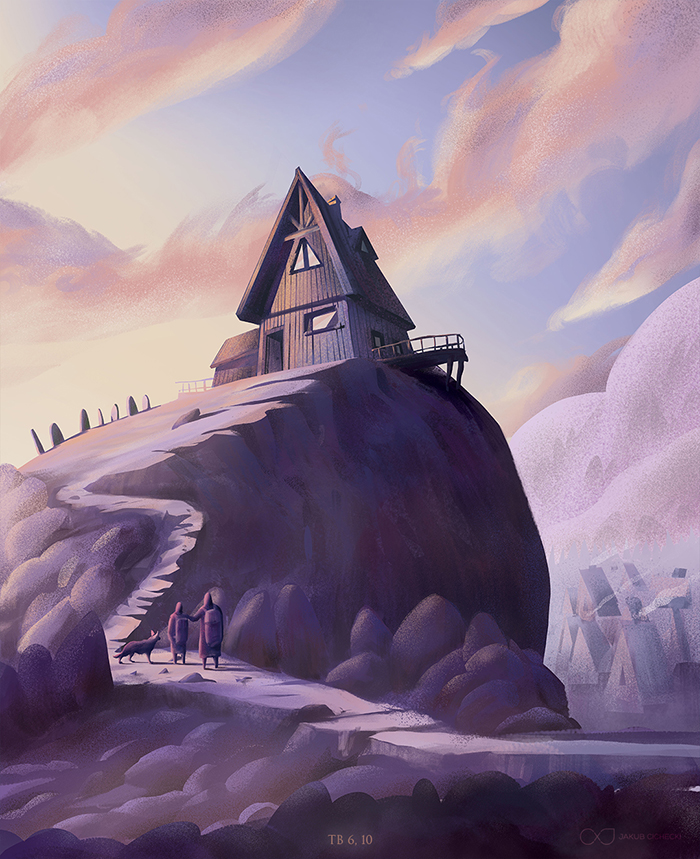 Tobias at Ekbatana - house on a hill with clouds illustration for the Book of Tobit from the Bible by Jakub Cichecki