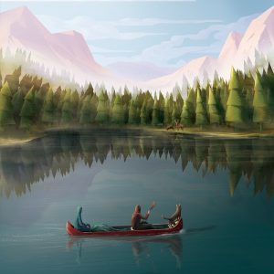 Tobias in boat - illustration for the Book of Tobit from the Bible by Jakub Cichecki