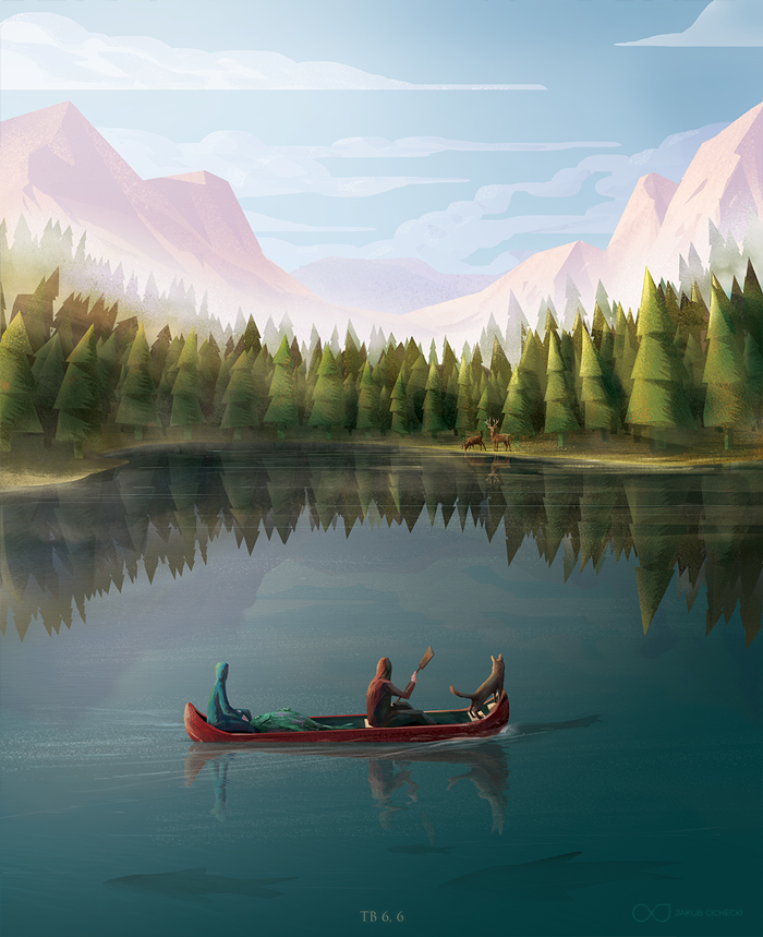 Tobias in boat - calm landscape illustration for the Book of Tobit from the Bible by Jakub Cichecki