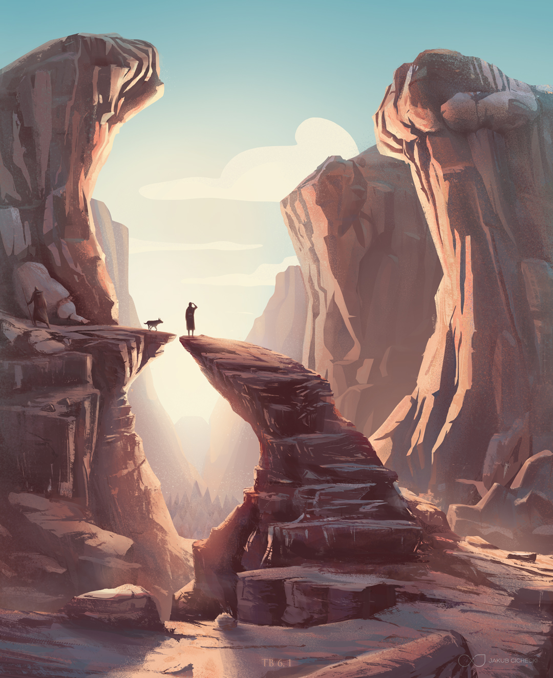 Tobias in canyon - epic illustration for the Book of Tobit from the Bible by Jakub Cichecki