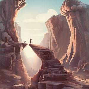 Tobias in canyon - illustration for the Book of Tobit from the Bible by Jakub Cichecki