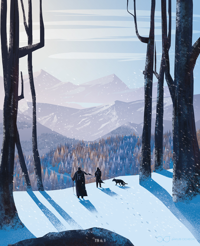 Tobias journey - winter illustration for the Book of Tobit from the Bible by Jakub Cichecki