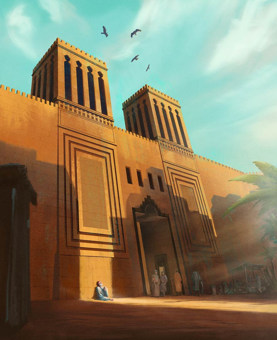 Tobias under great wall - monumental middle east architecture illustration for the Book of Tobit from the Bible by Jakub Cichecki