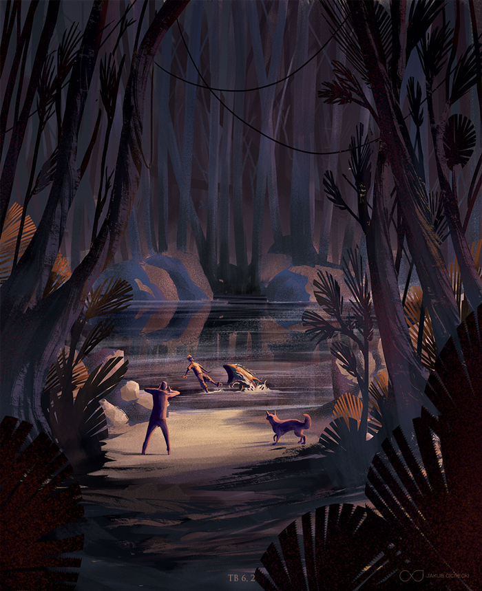 Tobias fighting with fish - forest illustration for the Book of Tobit from the Bible by Jakub Cichecki