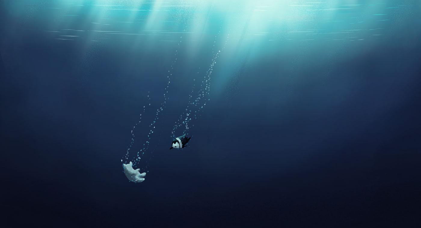 Underwater background illustration showing penguin diving to help bear for Pigeon Studio by Jakub Cichecki