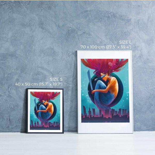 Photo of two framed illustration prints - Warsaw Dreams by Jakub Cichecki