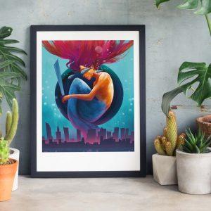Warsaw Dreams Photo of framed illustration print with Warsaw mermaid by Jakub Cichecki