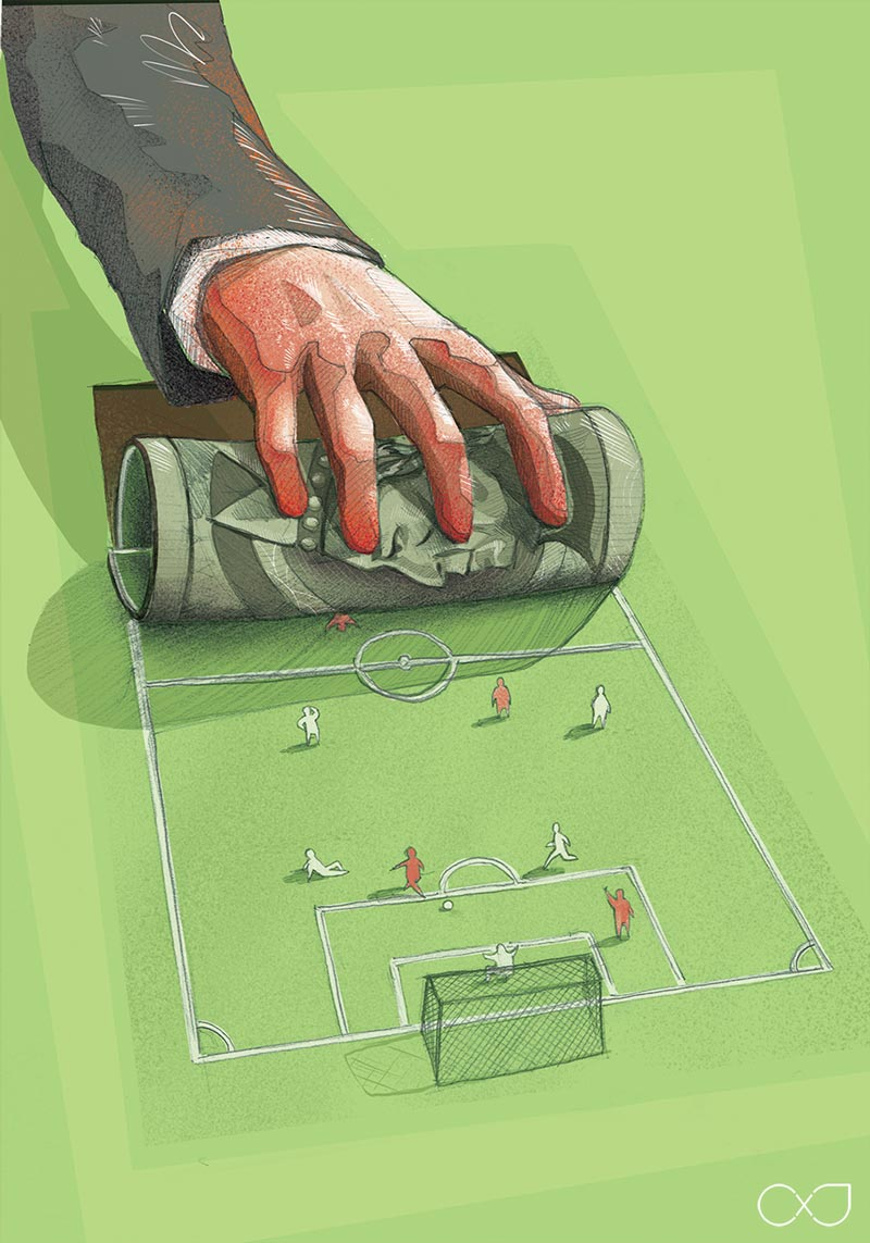 Who rules football? Meaningful illustration for Kopalnia Magazine about money and power in soccer by Jakub Cichecki