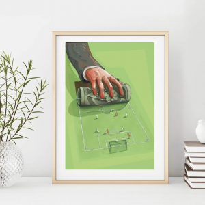 Who rules football - small illustration print in frame by Jakub Cichecki