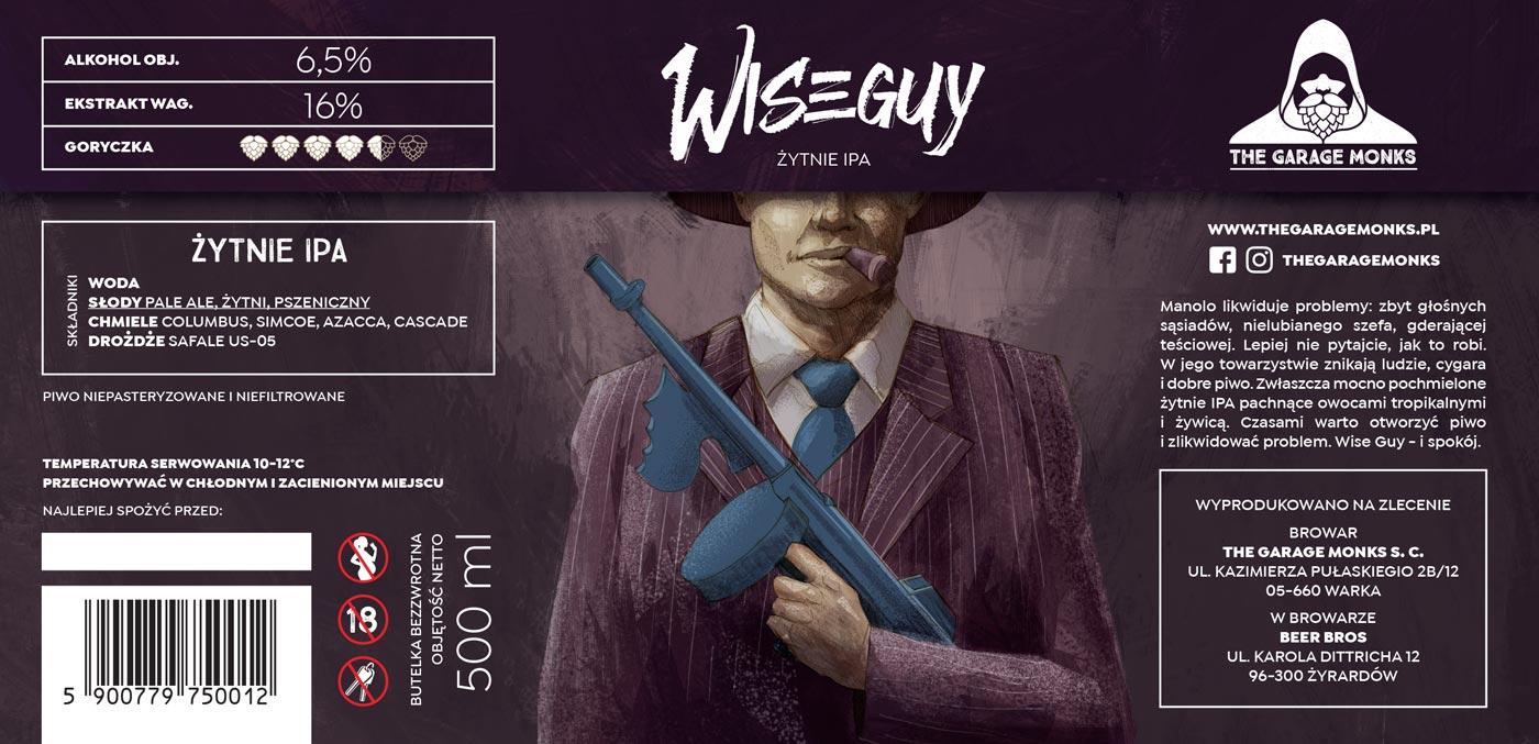 Wiseguy - beer label design illustration for The Garage Monks brewery by Jakub Cichecki