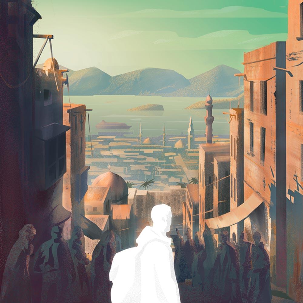 Who am I when I travel - cover illustration for Miesiecznik Znak by Jakub Cichecki