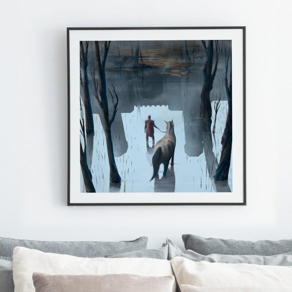 Ghost castle Photo of framed fantasy illustration print by Jakub Cichecki